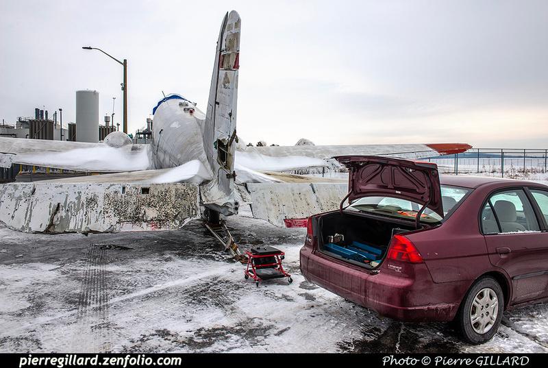 Pierre GILLARD: 2018-01-27 et 28 - Démontage des gouvernes de profondeur du DC-3 C-FDTD &emdash; 2018-616380